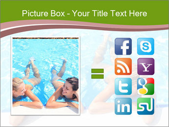 Two girlfriends in a swimming pool PowerPoint Template - Slide 21
