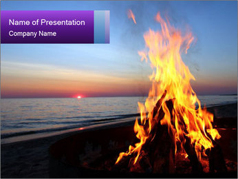 Campfire at sunset PowerPoint Template