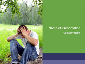 Sad teenager PowerPoint Template