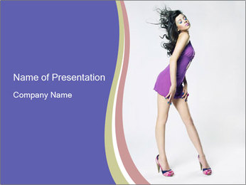 Woman in lilac dress PowerPoint Template