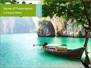 Long boat on island PowerPoint Templates
