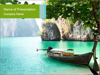 Long boat on island PowerPoint Template - Slide 1