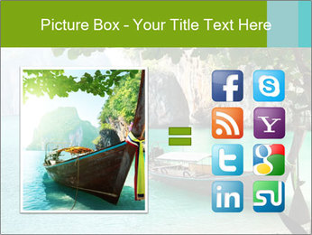 Long boat on island PowerPoint Template - Slide 21