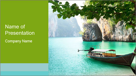 Long boat on island PowerPoint Template
