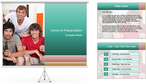 Boys drinking beer PowerPoint Template