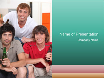 Boys drinking beer PowerPoint Template - Slide 1