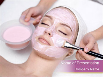 Pink facial mask PowerPoint Template - Slide 1