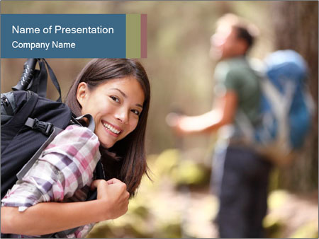 Smiling in forest PowerPoint Template