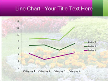 Blossoming colorful flowerbeds in summer city park PowerPoint Template - Slide 54