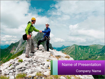 Two climbers PowerPoint Templates - Slide 1