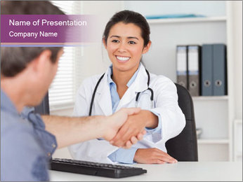 Doctor in office PowerPoint Template