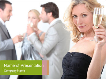 Woman at a party PowerPoint Template - Slide 1