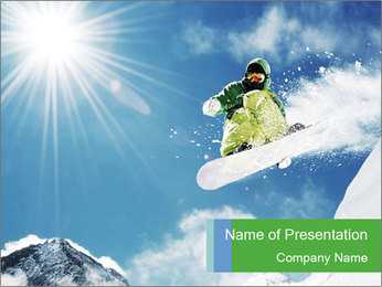 Snowboarder at jump PowerPoint Template - Slide 1