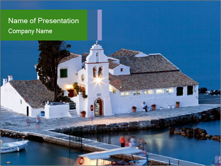Monastery at sunset PowerPoint Template