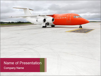 Orange business jet PowerPoint Template