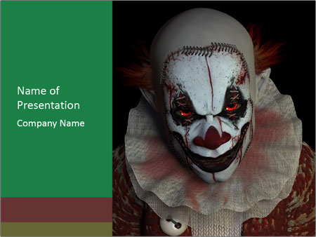 scary clown powerpoint template & backgrounds id 0000092192, Modern powerpoint