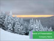 Sunset in ski PowerPoint Template