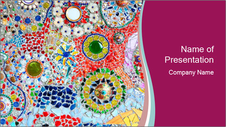 Colorful glass mosaic art PowerPoint Template