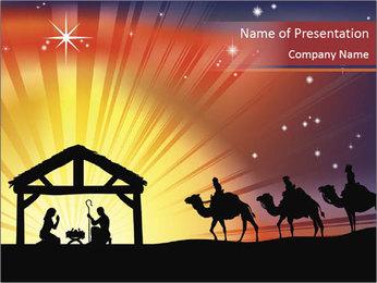 Christmas Nativity scene PowerPoint Template