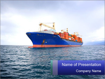 Commercial container ship PowerPoint Template - Slide 1