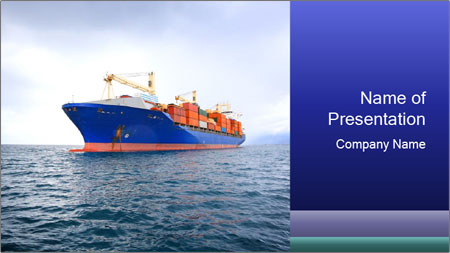 Commercial container ship PowerPoint Template