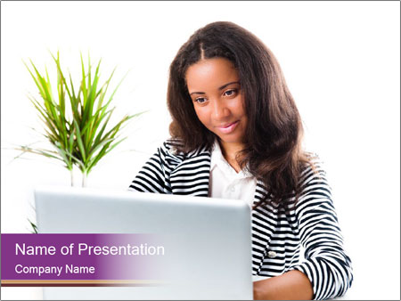 Beautiful girl working on a laptop PowerPoint Templates