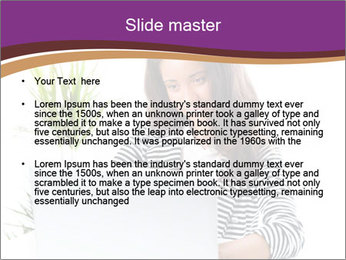 Beautiful girl working on a laptop PowerPoint Templates - Slide 2