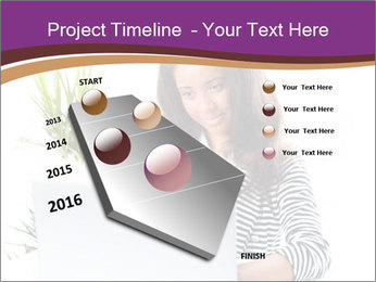 Beautiful girl working on a laptop PowerPoint Templates - Slide 26