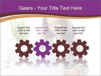 Beautiful girl working on a laptop PowerPoint Templates - Slide 48