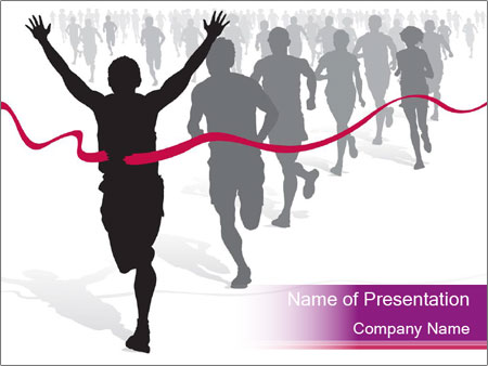 Group of marathon runners PowerPoint Template