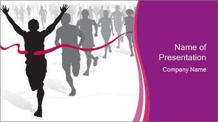 Group of marathon runners PowerPoint Template