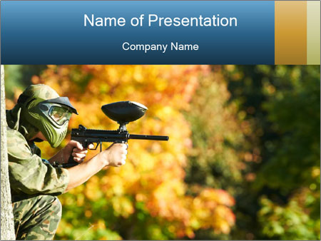 Paintball sport player PowerPoint Template