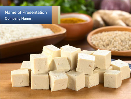 Raw tofu cut in dices PowerPoint Template