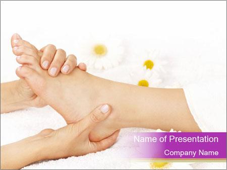 Female massage foot PowerPoint Template