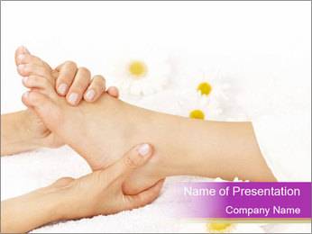 Female massage foot PowerPoint Template