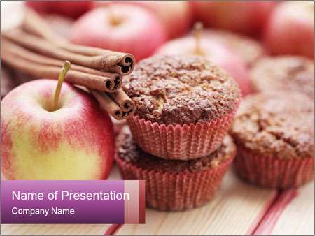 Delicious muffins with apple PowerPoint Template