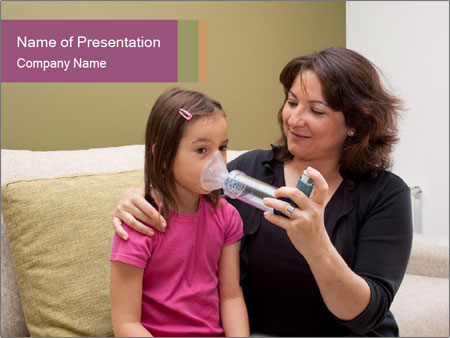 Mother using inhaler PowerPoint Template