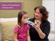 Mother using inhaler PowerPoint Templates