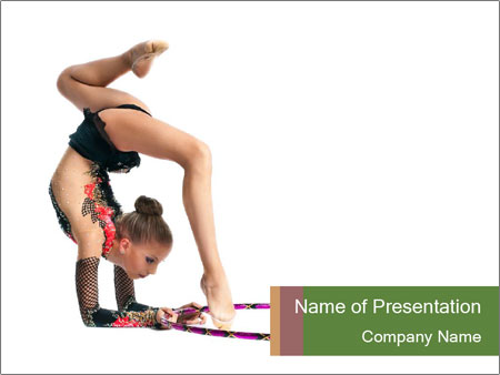 Young girl show PowerPoint Template