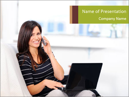 Beautiful woman at home PowerPoint Template