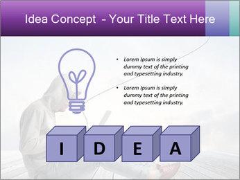 Man using a laptop PowerPoint Template - Slide 80