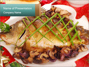 Whole carp baked PowerPoint Template