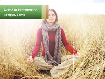 Beautiful young woman meditating PowerPoint Template