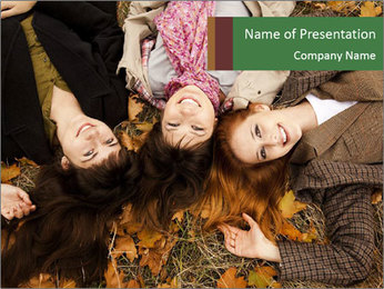 Three girls PowerPoint Template - Slide 1