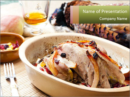 Baked pheasant PowerPoint Template