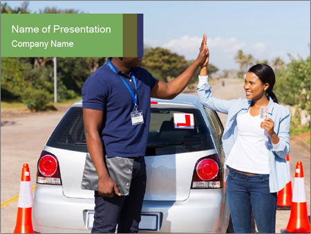 The instructor congratulates PowerPoint Template