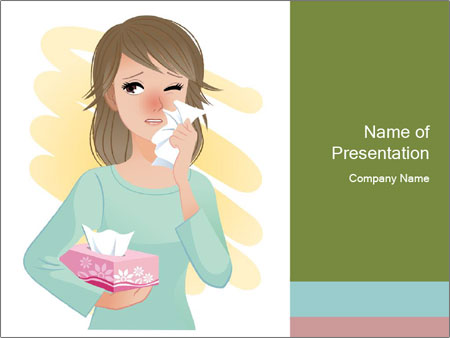 Girl is sick PowerPoint Template
