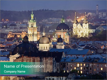 Beautiful evening city PowerPoint Template - Slide 1