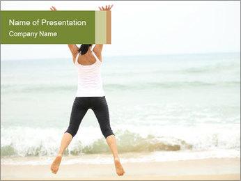 Girl on the beach PowerPoint Template