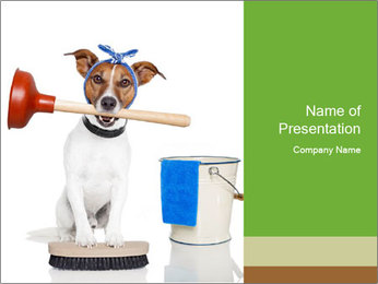 Cleaning dog PowerPoint Template - Slide 1